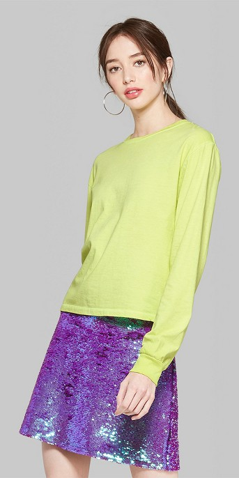Women's Long Sleeve Skater T-Shirt - Wild Fable™ Citrus Yellow