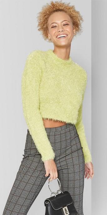Women's Fuzzy Mock Neck Cropped Sweater - Wild Fable™