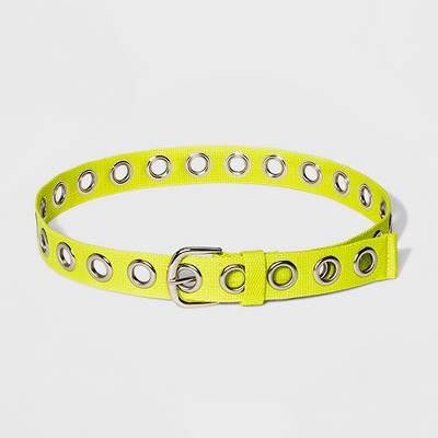 Women's Grommet Cotton Webbing Belt - Wild Fable™ Citrus Yellow