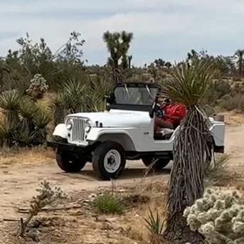 Olivia Christine Perez driving her white jeep to her campsite in Joshua Tree, California.