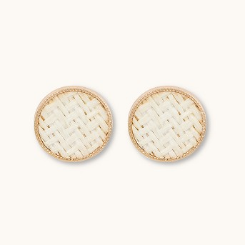 Straw Inlayed Button Earrings - A New Day™ Natural