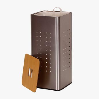 Household Essentials Square Brush Stainless Hamper, Wood Lid