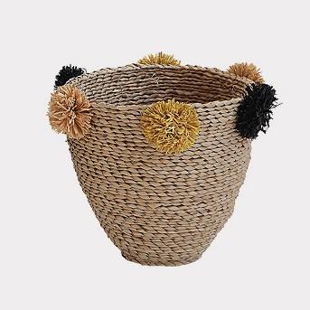2pc Decorative Seagrass Baskets With Pompoms - 3R Studios