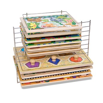 Melissa & Doug® Deluxe Metal Wire Puzzle Storage Rack for 12 Small and Large Puzzles