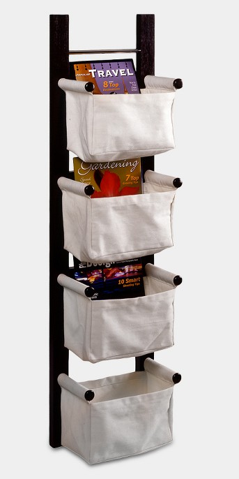 Storage-Magazine Rack with 4 Canvas Baskets - Dark Espresso - Winsome