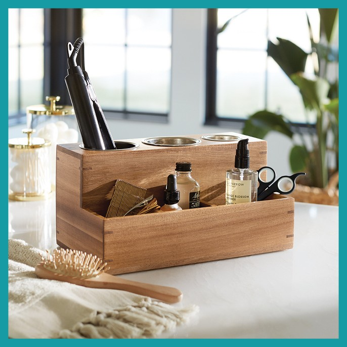 Hair Tools Organizer With 5pcs Magnets Wood 12