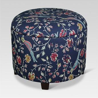 Trappe Medium Round Ottoman with Storage - Navy Bird Print - Threshold™