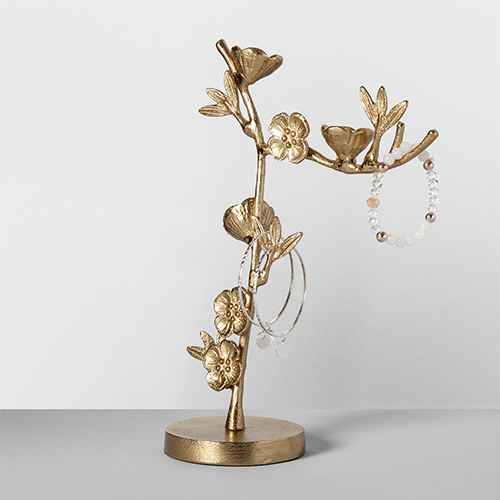 "11"" x 4.1"" Cast Metal Floral Jewelry Stand Gold - Opalhouse™"