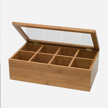 Lipper International Bamboo 8-Compartment Tea Box with Acrylic and Bamboo Lid