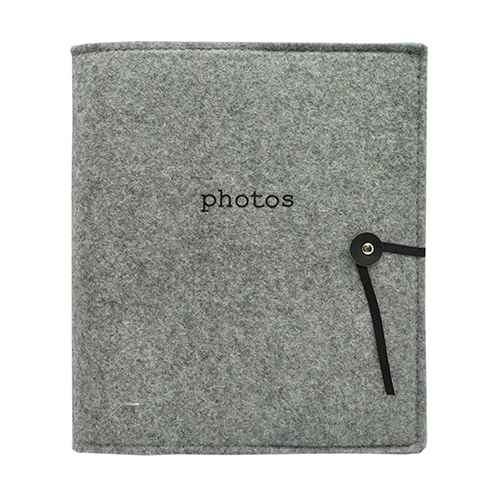 "Felt Photo Album Gray - Holds Two 4""x6"" Photos per Page"