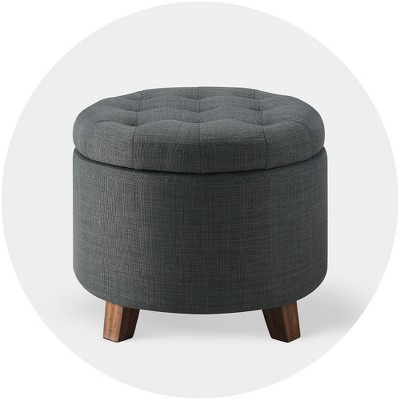 Faux Leather Ottoman Pouffe Seat Large Storage Box Home Chair Foot Stool Bench