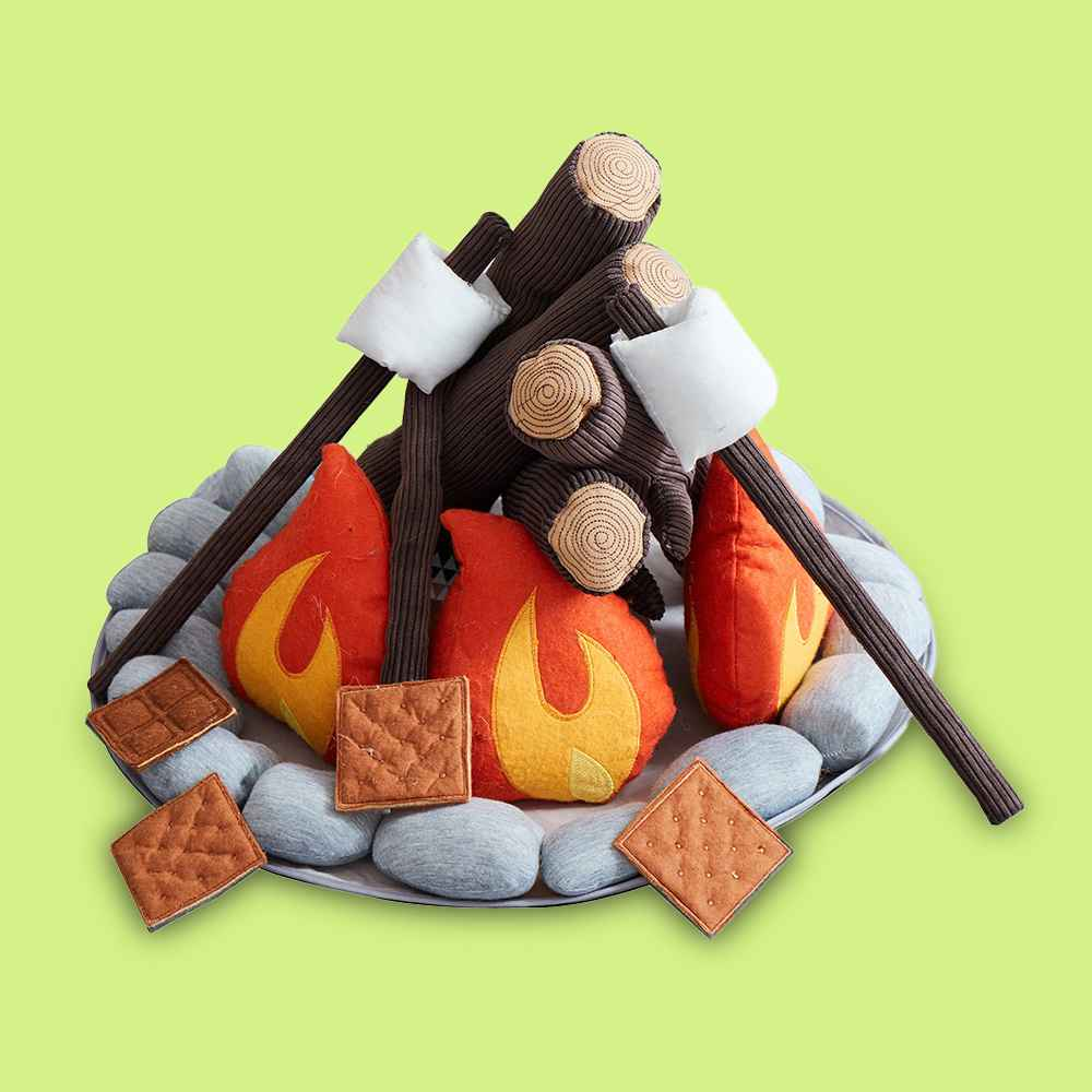 Asweets Kids Campout Camp Fire and S'mores Super Soft Plush Pillow Child Toy Camping Pretend Imaginative Play Set for Ages 3 and Up, 16 Piece