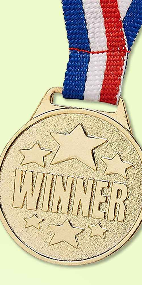 """24-Pack Olympic Style Gold Winner Award Medals with 1.5"""" Diameter, 15.3"""" Ribbon"""