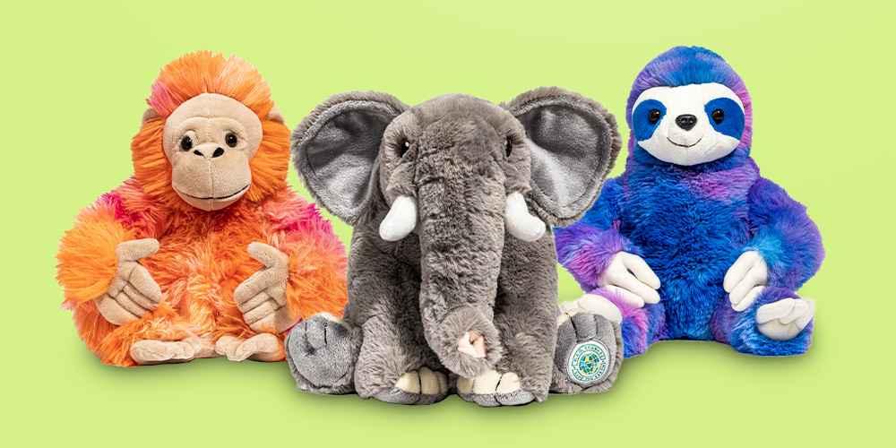 "FAO Schwarz Tie-Dye Endangered Orangutan - 10"" Toy Plush, FAO Schwarz Planet Love Recycled Bottle Elephant - 10"" Toy Plush"