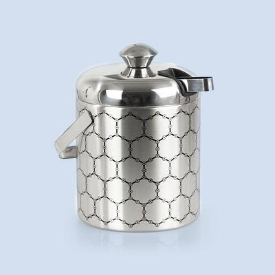 ThinkGeek, Inc. Stainless Steel Ice Bucket With Ice Molecule Pattern   Includes Set Of Ice Tongs