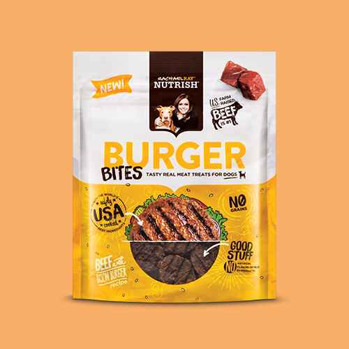 Rachael Ray Nutrish Burger Bites Dog Treats Beef Burger with Bison Recipe 12oz