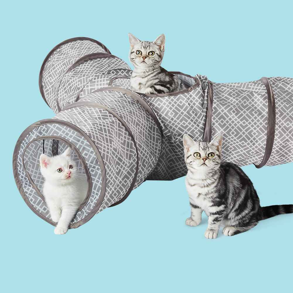 Triple Tunnel Exercise Cat Toy - Gray - Boots & Barkley™