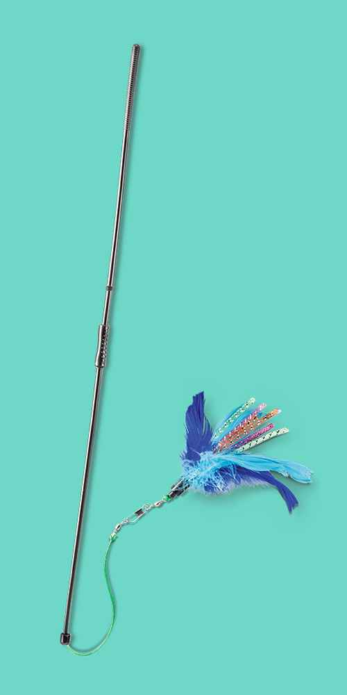 Feather & Straw Spinning Wand Pet Toy - Boots & Barkley™