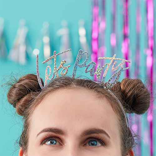 "5ct ""Lets Party"" Iridescent Head Bands"