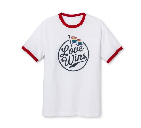 Pride Adult Short Sleeve Love Wins Ringer T- Shirt - White