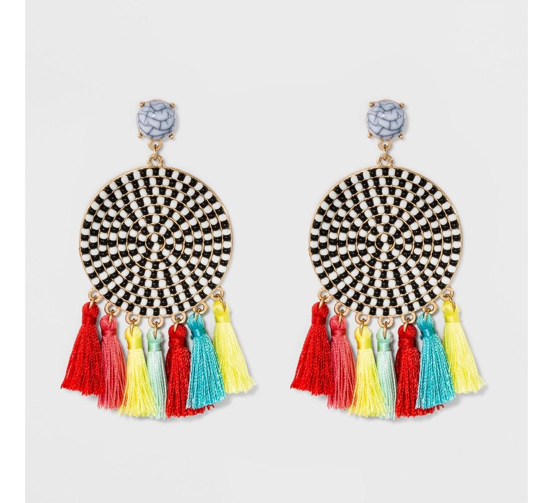 SUGARFIX by BaubleBar Mixed Media Drop Earrings with Tassel