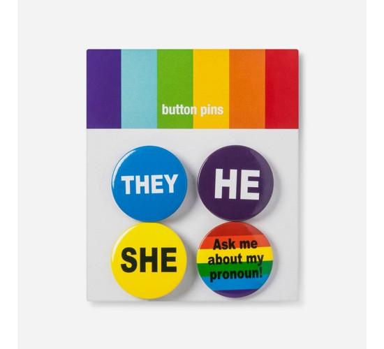 Pride Preferred Pronoun Buttons