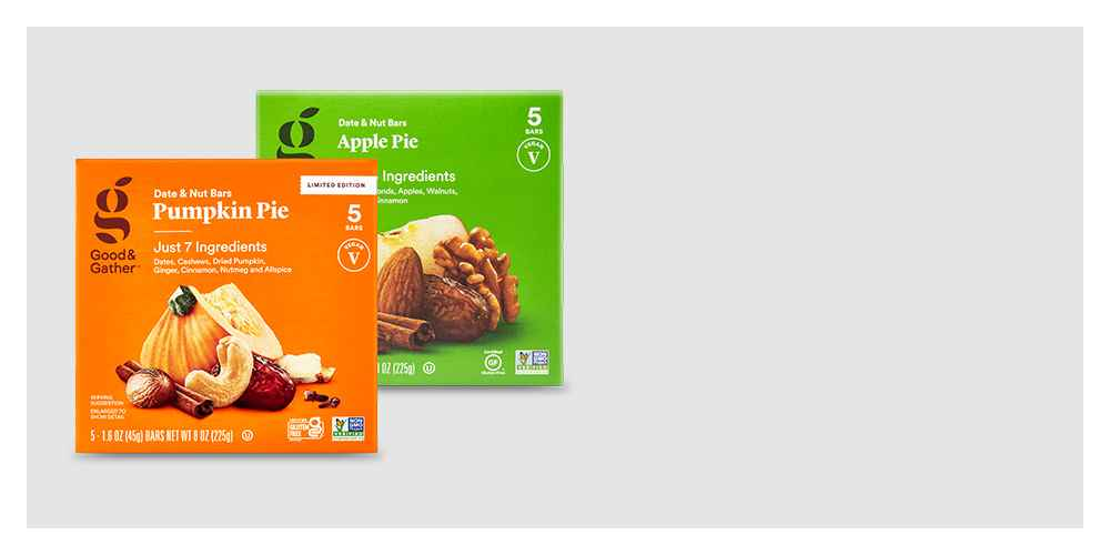 Pumpkin Pie Date and Nut Bar - 5ct - Good & Gather™, Apple Pie Nutrition Bars - 5ct - Good & Gather™, Hot Cocoa Date and Nut Bar - 5ct - Good & Gather™, Chocolate Chip Cookie Dough Nutrition Bars - 5ct - Good & Gather™
