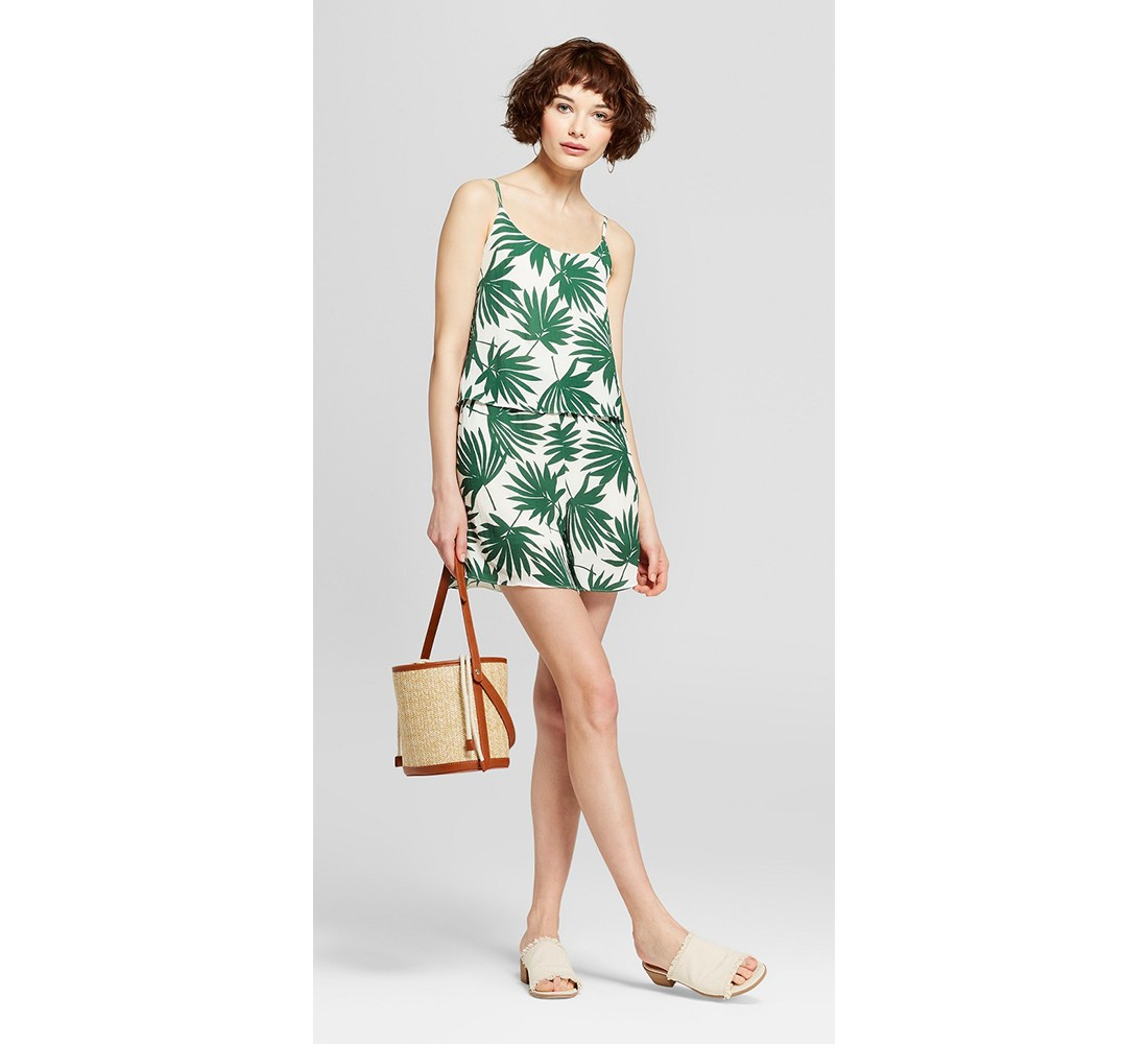 Women's Tropical Palm Romper with Cami Overlay - K by Kersh White/Green