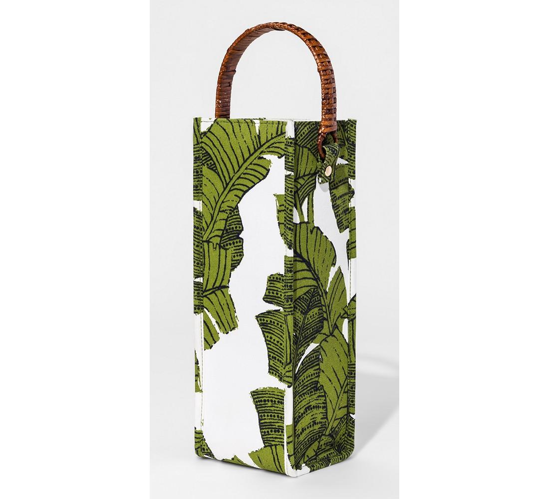 Fabric Wine Bag with Rattan Handle Green Palms - Threshold™