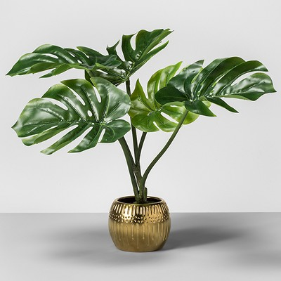 Artificial Palm Leaf Plant in Gold Base - Opalhouse™