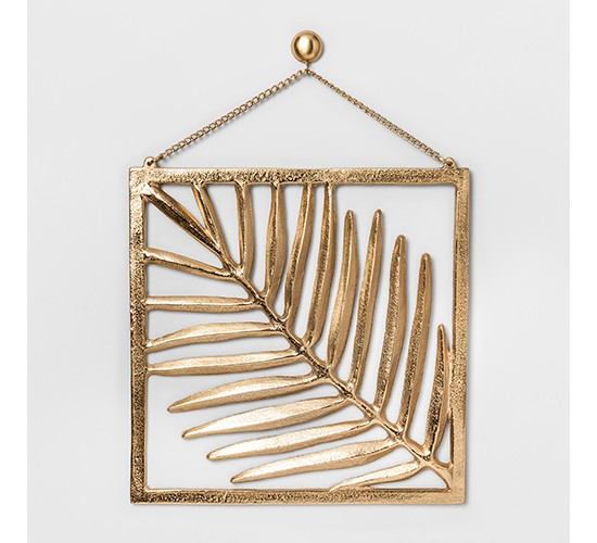 Cast Metal Gold Palm Leaf with Frame and Chain (11.6