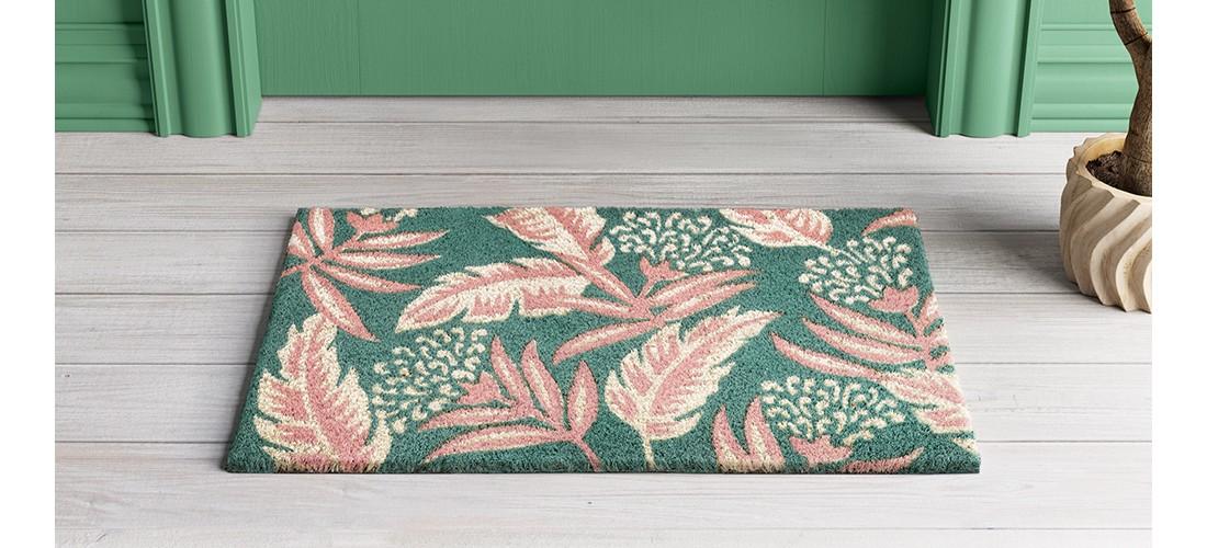 Teal Green/Pink Leaf Doormat 1'6