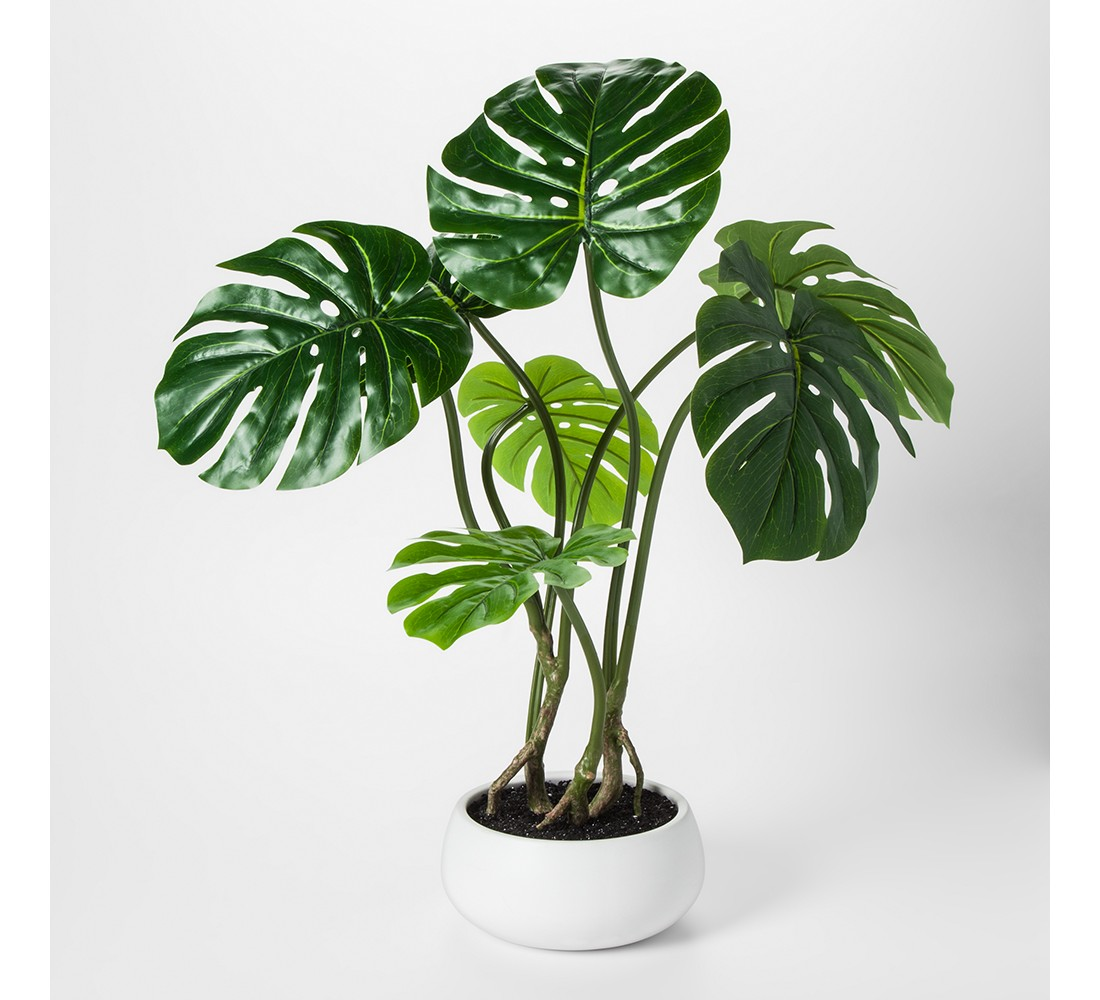 Faux Palm Leaf Plant in White Pot Large - Project 62™