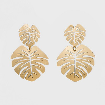 SUGARFIX by BaubleBar Palm Leaf Drop Earrings - Gold
