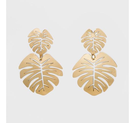SUGARFIX by BaubleBar Palm Leaf Drop Earrings - Gold