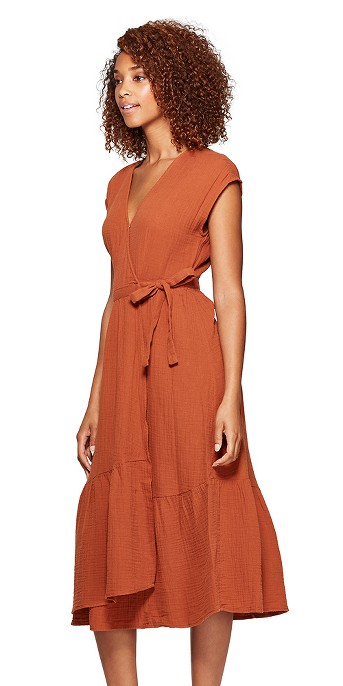 Women's Short Sleeve V-Neck V-Neck Ruffle Hem Midi Dress - Universal Thread™