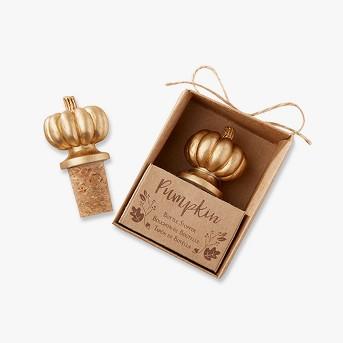 6ct Kate Aspen Gold Pumpkin Bottle Stopper