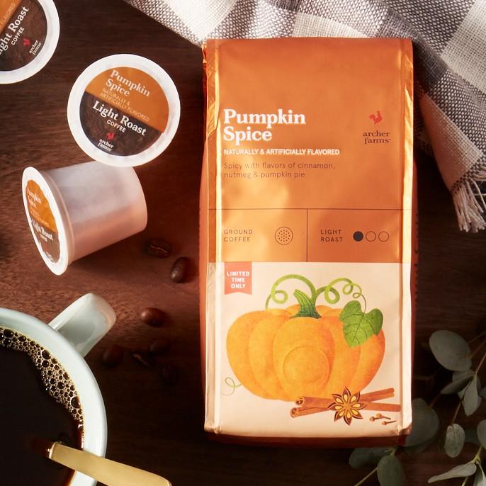 Pumpkin Spice Light Roast Ground Coffee - Decaf - 12oz - Archer Farms™, Decaf Pumpkin Spice Light Roast Coffee - Single Serve Pods - 18ct - Archer Farms™