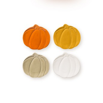"7"" 4pk Stoneware Pumpkin Appetizer Plates - Threshold™"