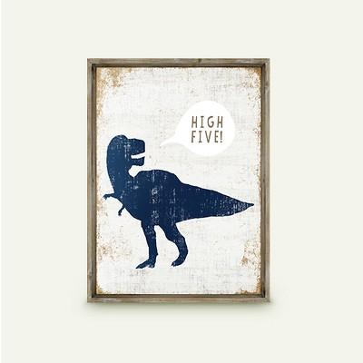 High Five Dinosaur Framed Art - Pillowfort™