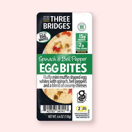 Three Bridges Spinach & Bell Pepper Egg White Bites - 4.6oz