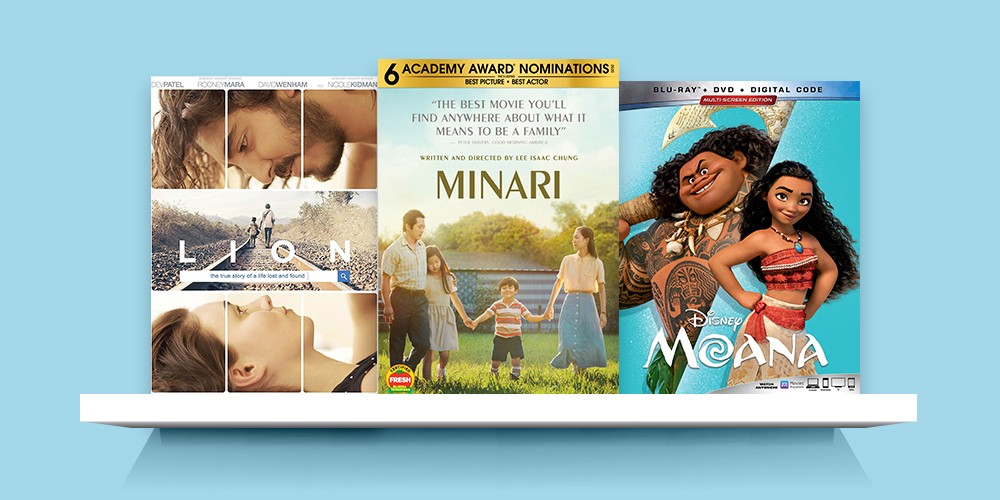 Moana (Blu-ray + DVD + Digital), Lion (DVD), Minari (DVD)