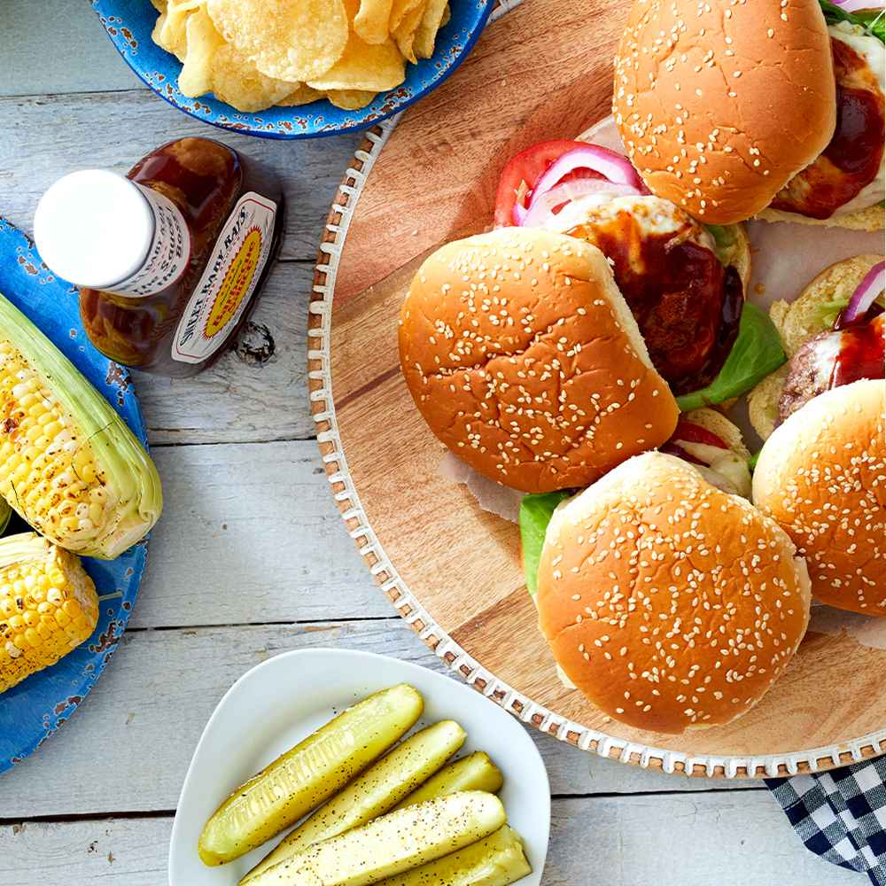 Sweet Baby Ray's Barbecue Sauce - 18oz, Classic Potato Chips - 8oz - Market Pantry™, Organic Kosher Dill Pickle Spears - 24 fl oz - Good & Gather™, Sweet Corn - 4pk Package, Beefsteak Tomatoes - 2pk Package, Red Onion - each, Boneless & Skinless Chicken Breasts - 1.65-3.975 lbs - price per lb - Good & Gather™, 93/7 Ground Beef Patties - 1lb - Good & Gather™, Swiss Deli Sliced Cheese - 7oz/10 slices - Good & Gather™, Kate Aurora Country Living 4 Pack Gingham Plaid Checkered Country Farmhouse Napkins - 8 in. W x 8 in. L, Black/White
