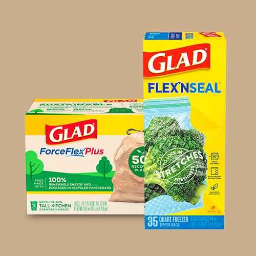 Glad ForceFlexPlus Recovered Plastic Trash Bag - Lemon Fresh - 13 Gallon - 45ct, Glad Flex'N Seal + Freezer Storage Plastic Bags - 1 Quart 35ct