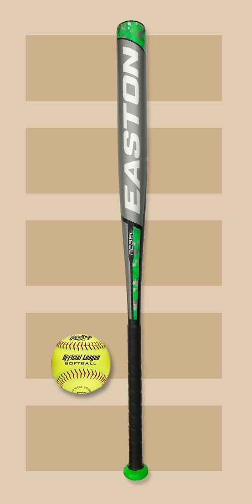 "Easton Rebel Slowpitch 34"" Softball Bat, Rawlings Fastpitch Softball 4pk"
