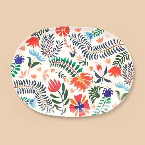 2pc Bamboo Melamine Floral Serving Platter Green - Opalhouse™