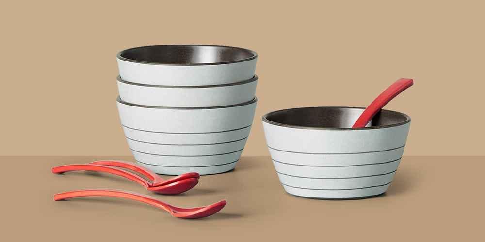 8pc Bamboo Melamine Stripes Dessert Bowl & Spoon Set Light Gray - Hearth & Hand™ with Magnolia, 4pk Enamel Bowl Set Red/Cream - Hearth & Hand™ with Magnolia, Certified International Artisan Ceramic Dessert Bowls 28oz White/Brown - Set of 4