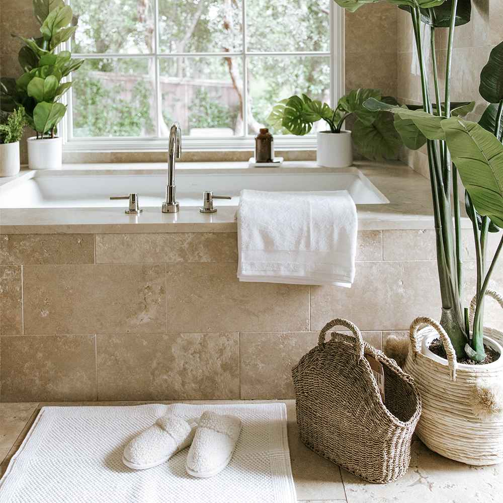 """21"""" x 12"""" Artificial Monstera Plant In Pot White - Project 62™, Solid Bath Rug - Made By Design™, Small Market Basket - Threshold™, 80"""" x 30"""" Artificial Banana Tree In Pot White - Project 62™, Rainbow Tapestry White - Project 62™, 13"""" Potted Artificial Maiden Hair Fern - Threshold™"""