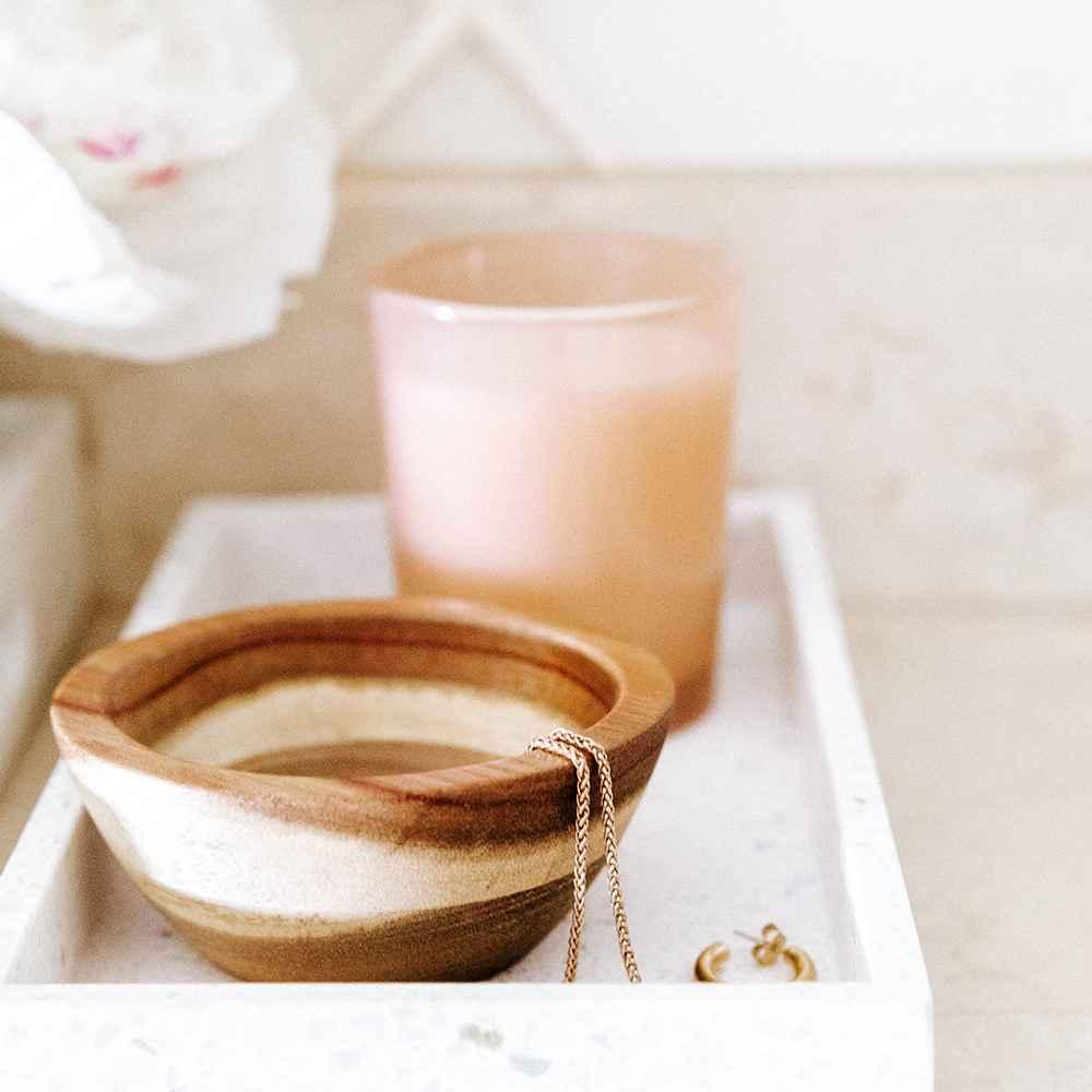 186oz Sheesham Wood Serving Bowl Natural - Threshold™, Terrazzo Bathroom Tray - Threshold™