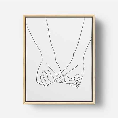 Holding Hands Framed Wall Canvas Black/White - Opalhouse™